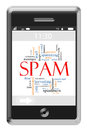 Spam Word Cloud Concept on Touchscreen Phone Royalty Free Stock Photography