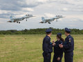 The span of two military aircraft moscow region june watch flight at international technical forum army at airfield Stock Image