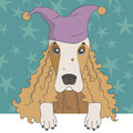 Spaniel in cap illustration of Royalty Free Stock Image
