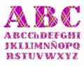 Spanish alphabet, cage, diamond pattern, purple, vector. Royalty Free Stock Photo