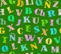 Spanish alphabet, seamless pattern, shading pencil, green, colored, vector. Royalty Free Stock Photo