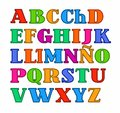 Spanish alphabet, uppercase colored letters with the contour vector.