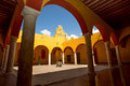 Spanish arches interior courtyard with Stock Photos