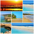 Spanish beaches collage a of some pictures of different of spain such as of canary islands and balearic islands Royalty Free Stock Photo