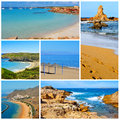 Spanish beaches collage a of some pictures of different of spain such as of canary islands and balearic islands Royalty Free Stock Image
