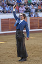 Spanish bullfighter on horseback pablo hermoso de mendoza thank the trophy which has been awarded the president of bullring Royalty Free Stock Photography