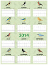 Spanish calendar with different european common birds Royalty Free Stock Photography