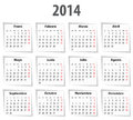 Spanish calendar for with shadows mondays first vector illustration Royalty Free Stock Image