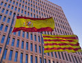 Spanish and catalan flags Stock Photography