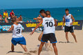 Spanish championship of beach soccer cadiz spain jul unknown players unknown team playing the on jul on the la Stock Images
