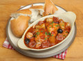 Spanish chicken casserole with chorizo new potatoes and olives Royalty Free Stock Image