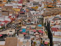 Spanish cityscape tiled roofs in seville bird s eye panorama Royalty Free Stock Image