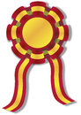Spanish cockade vector illustration of a with colors red and yellow rosette ribbon Royalty Free Stock Images