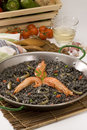 Spanish cuisine. Black rice. Arroz negro. Royalty Free Stock Photos