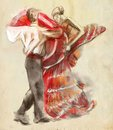 Spanish dancers. An hand drawn illustration, freehand sketching.