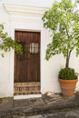 Spanish door charming wooden in san juan puerto rico Royalty Free Stock Image