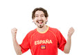 Spanish fan happy man supporter isolated on white Stock Photography