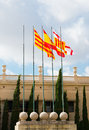 Spanish flags national museum barcelona Royalty Free Stock Image