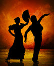 Spanish flamenco dancer couple on fire background Royalty Free Stock Photo