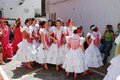 Spanish flamenco dancers in the street. Royalty Free Stock Photo
