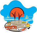 Spanish food at the seaside cartoon illustration of a table set with tropical cocktails in tall glasses and on a summer vacation Stock Photography
