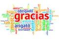Spanish Gracias, Open Word Cloud, Thanks, on white