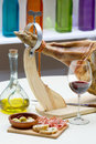 Spanish iberico ham glass wine Royalty Free Stock Photos