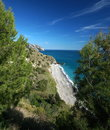 Spanish mediterranean coast a piece of natural beach between the towns of nerja and la herradura Stock Photos