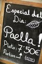 Spanish menu foreground of a poster of the in a typical restaurant sevilla andalusia spain Royalty Free Stock Photography