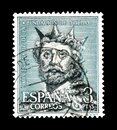 Spanish monuments on postage stamps Royalty Free Stock Photo