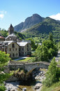 Spanish mountain town parzan summer view of the in the pyrenees Royalty Free Stock Images