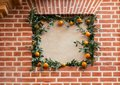 Spanish ornaments on the wall with olive branches and oranges Royalty Free Stock Photo