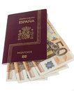 Spanish Passport with Euros Royalty Free Stock Photos