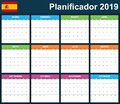 Spanish Planner blank for 2019. Scheduler, agenda or diary template. Week starts on Monday