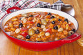 Spanish pork stew with olives and butter beans Stock Images