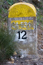 Spanish Road Marker Km 12 Stock Images