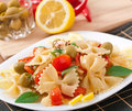 Spanish salad with pasta bows Royalty Free Stock Photo