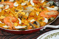Spanish seafood paella Royalty Free Stock Photos