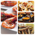 Spanish seafood tapas collage of different such as boquerones fritos gambas al ajillo or mejillones a la marinera Stock Images