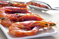 Spanish shrimps with garlic and parsley Royalty Free Stock Photography