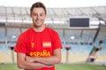 Spanish sports fan at soccer stadium Royalty Free Stock Photo