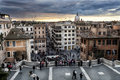 Spanish steps aerial view, Via Condotti and Dome. Sunset Royalty Free Stock Photo
