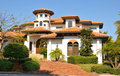 Spanish style home with tower Royalty Free Stock Photo