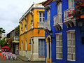Spanish-style street at the historic city of Cartagena, Colombia
