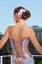Spanish style woman styled in in corset dress embroiled with a designer lacing Royalty Free Stock Photography