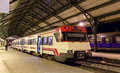 Spanish suburban electric train at French station Cerbere Royalty Free Stock Photo