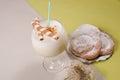Spanish summer treat an aromatic milkshake leche preparada with sweet ensaimadas a classic Royalty Free Stock Photography
