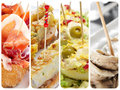 Spanish tapas collage a with different such as pincho de tortilla pincho de jamon stuffed eggs or boquerones Stock Photo