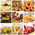 Spanish tapas collage a of nine pictures of different such as calamares a la romana squid rings mejillones a la marinera mussels Royalty Free Stock Image