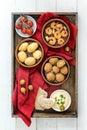 Spanish tapas finger food, baked olives, prawn shrimps, potatoes